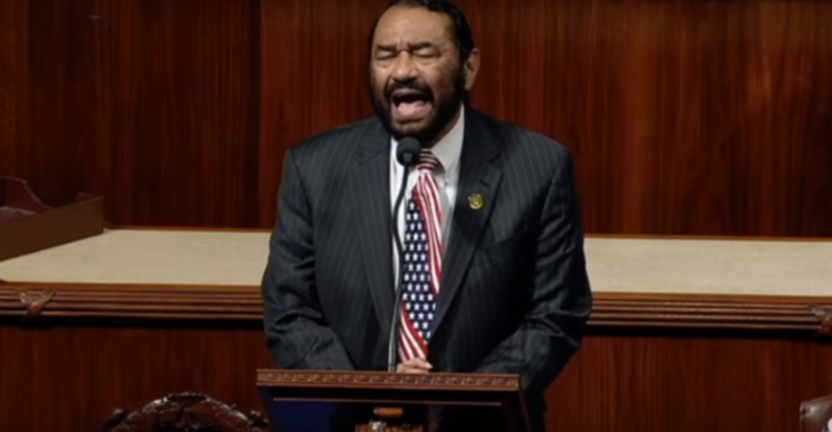 Texas Democrat Representative, Al Green, Calls To Impeach Trump. Photo Taken From Video.
