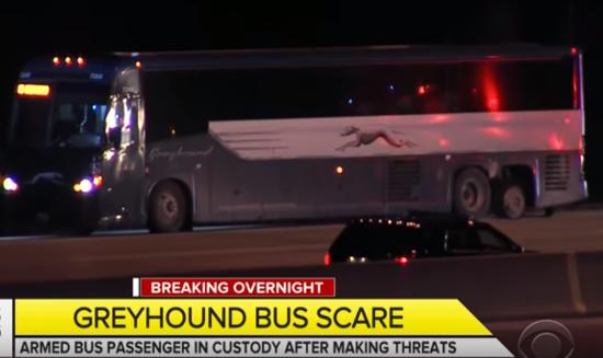 Greyhound Bus. Photo taken from video
